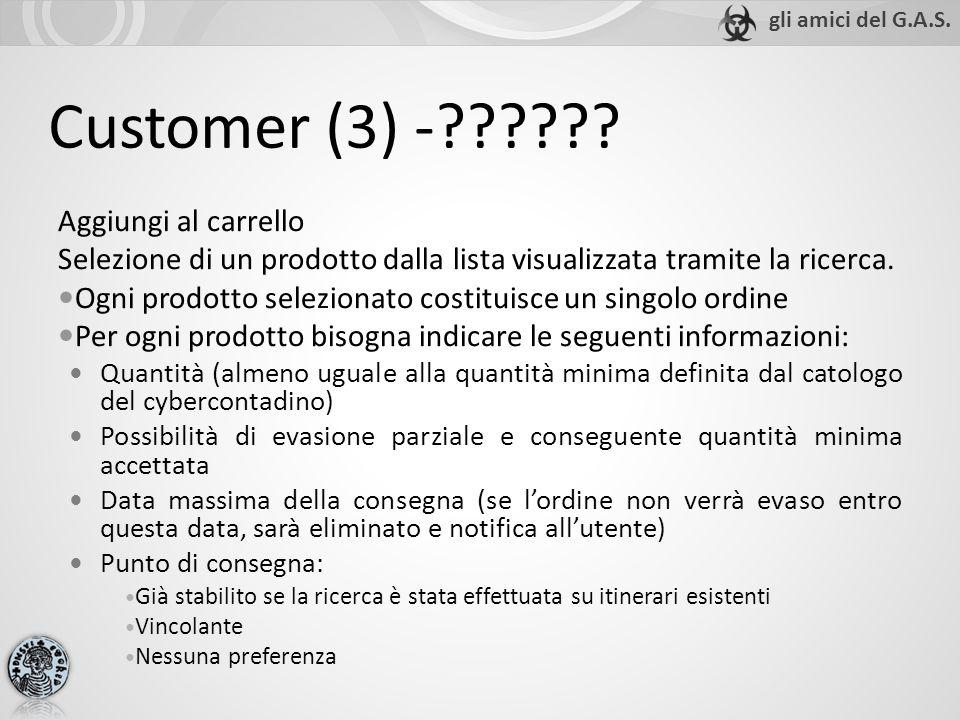 Customer (3) -?????? Aggiungi al carrello Selezione di un prodotto dalla lista visualizzata tramite la ricerca. Ogni prodotto selezionato costituisce