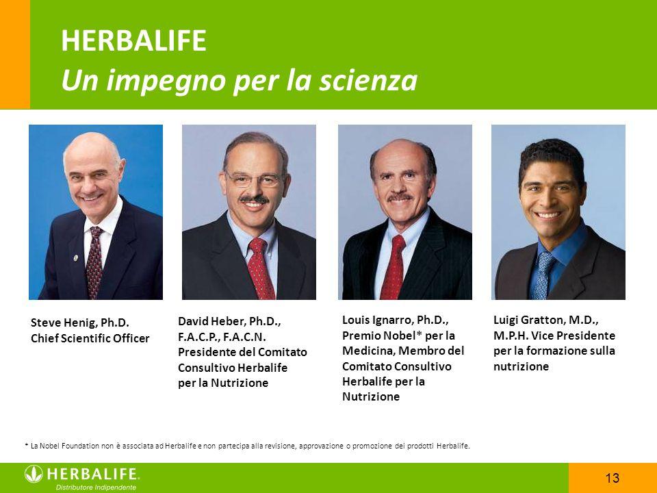 13 Steve Henig, Ph.D. Chief Scientific Officer David Heber, Ph.D., F.A.C.P., F.A.C.N. Presidente del Comitato Consultivo Herbalife per la Nutrizione L