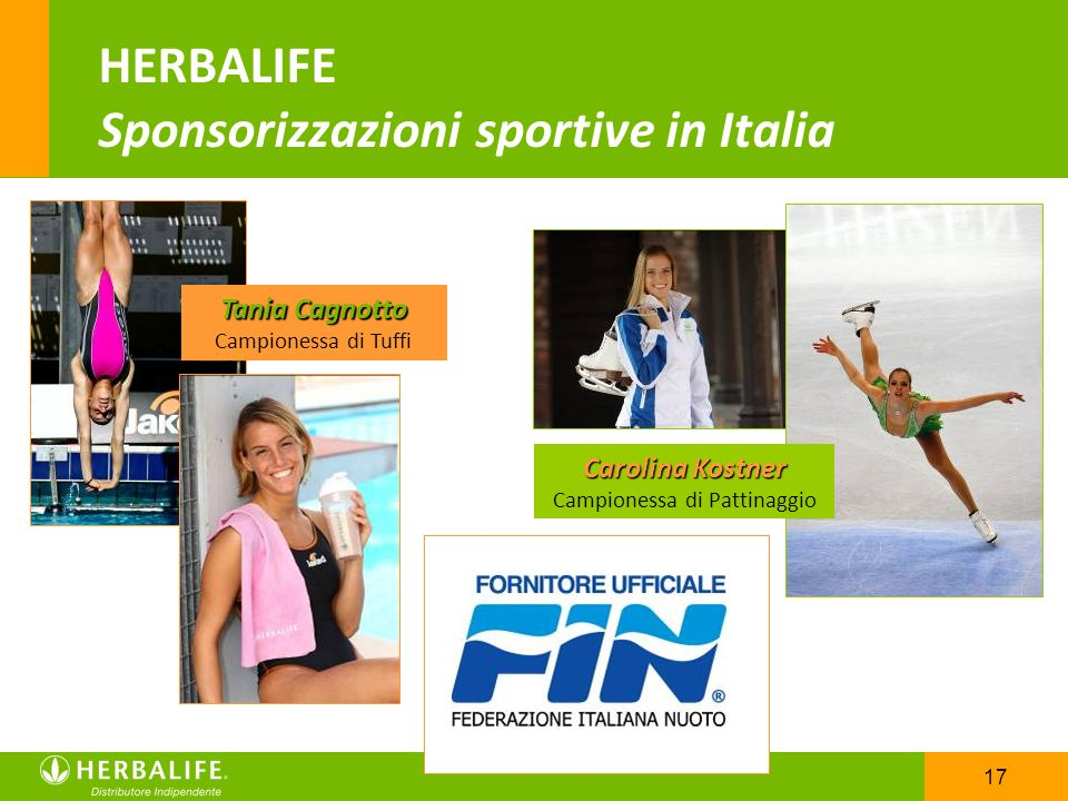 17 HERBALIFE Sponsorizzazioni sportive in Italia Tania Cagnotto Campionessa di Tuffi Carolina Kostner Campionessa di Pattinaggio