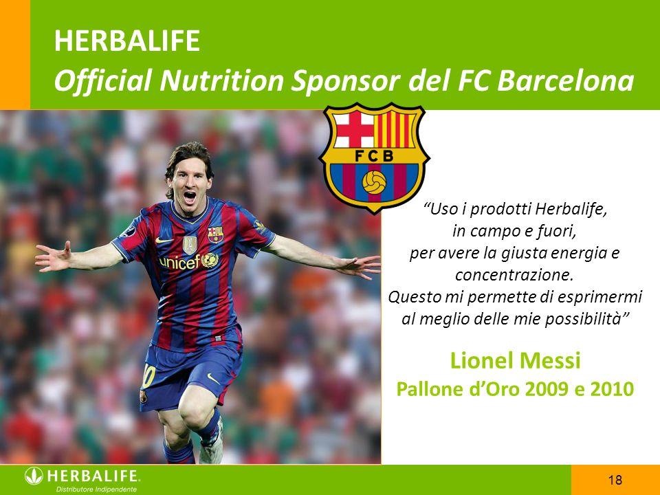 18 HERBALIFE Official Nutrition Sponsor del FC Barcelona Uso i prodotti Herbalife, in campo e fuori, per avere la giusta energia e concentrazione. Que