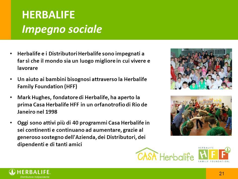 21 HERBALIFE Impegno sociale Herbalife e i Distributori Herbalife sono impegnati a far sì che il mondo sia un luogo migliore in cui vivere e lavorare
