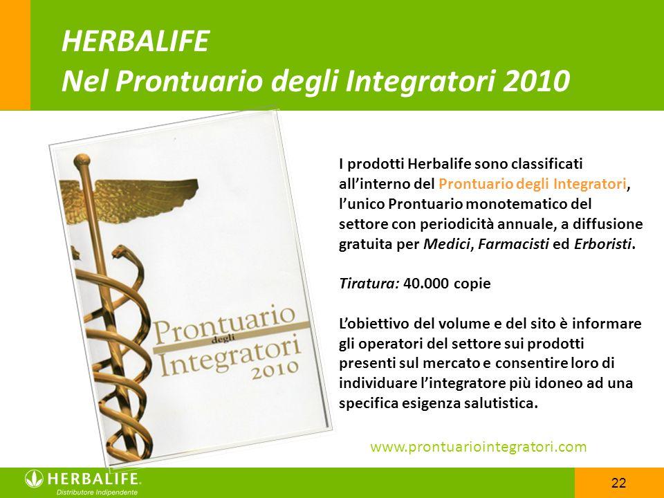 22 HERBALIFE Nel Prontuario degli Integratori 2010 I prodotti Herbalife sono classificati allinterno del Prontuario degli Integratori, lunico Prontuar