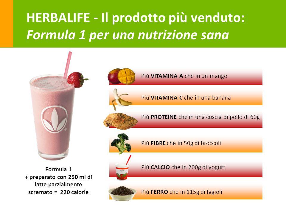 24 HERBALIFE - Il prodotto più venduto: Formula 1 per una nutrizione sana Formula 1 + preparato con 250 ml di latte parzialmente scremato = 220 calori