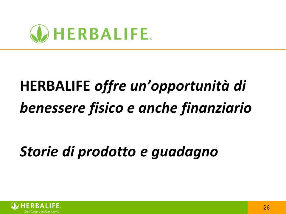 26 HERBALIFE offre unopportunità di benessere fisico e anche finanziario Storie di prodotto e guadagno