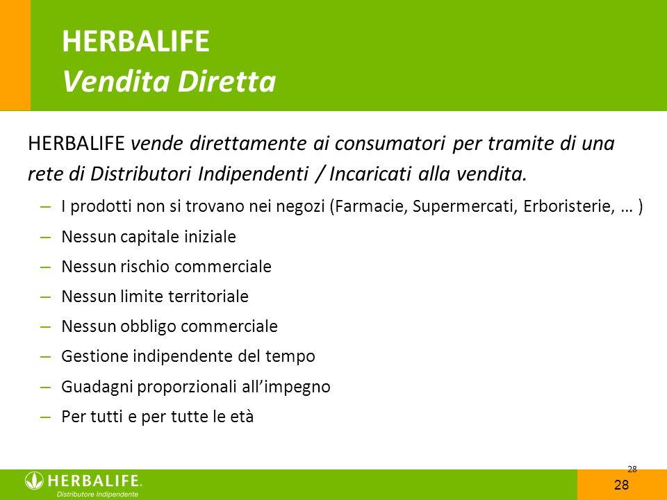 28 HERBALIFE Vendita Diretta HERBALIFE vende direttamente ai consumatori per tramite di una rete di Distributori Indipendenti / Incaricati alla vendit