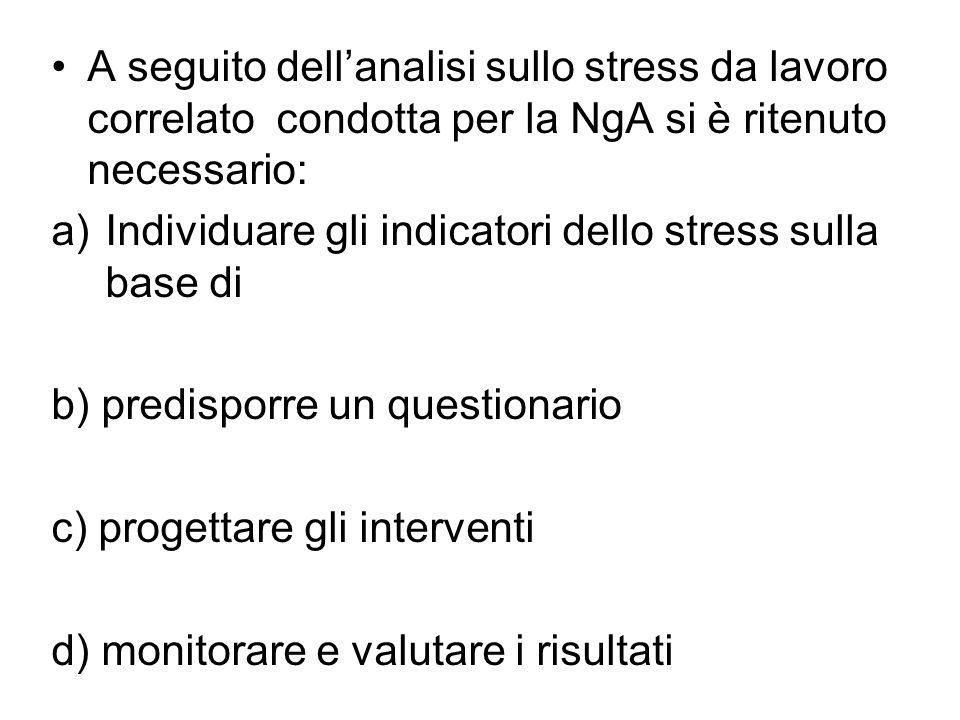 A seguito dellanalisi sullo stress da lavoro correlato condotta per la NgA si è ritenuto necessario: a)Individuare gli indicatori dello stress sulla base di b) predisporre un questionario c) progettare gli interventi d) monitorare e valutare i risultati
