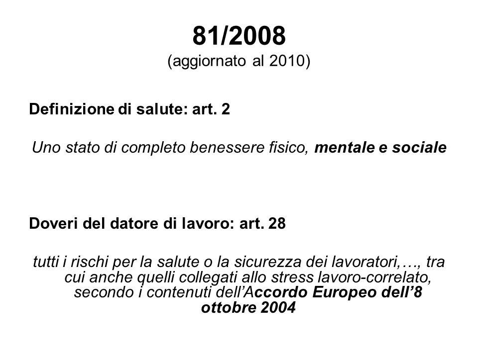 81/2008 (aggiornato al 2010) Definizione di salute: art. 2 Uno stato di completo benessere fisico, mentale e sociale Doveri del datore di lavoro: art.