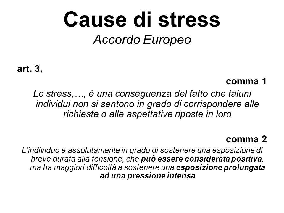 Cause di stress Accordo Europeo art. 3, comma 1 Lo stress,…, è una conseguenza del fatto che taluni individui non si sentono in grado di corrispondere