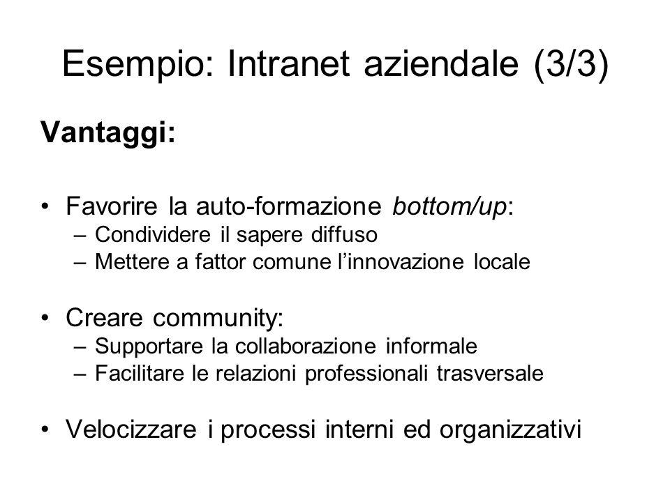 Esempio: Intranet aziendale (3/3) Vantaggi: Favorire la auto-formazione bottom/up: –Condividere il sapere diffuso –Mettere a fattor comune linnovazion