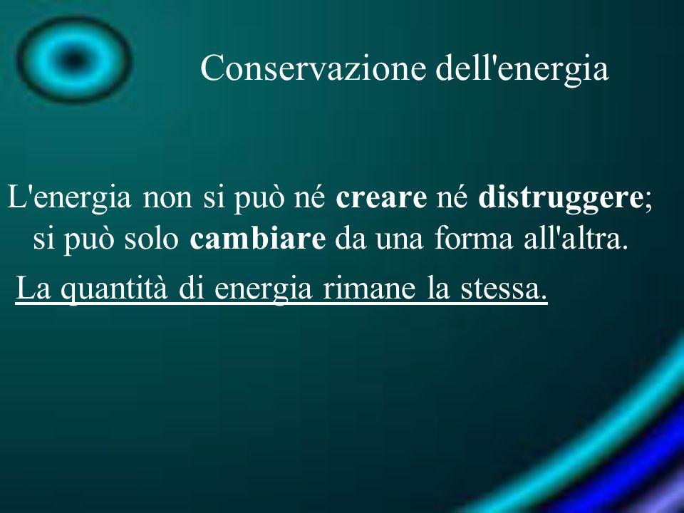 Conservazione dell'energia L'energia non si può né creare né distruggere; si può solo cambiare da una forma all'altra. La quantità di energia rimane l