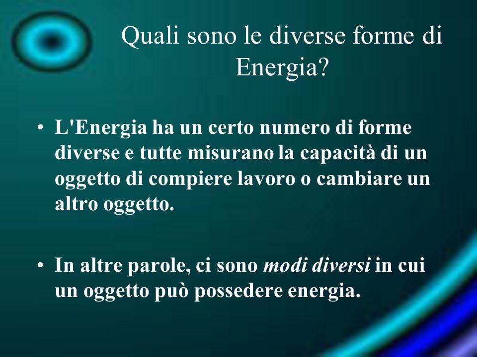 Quali sono le diverse forme di Energia? L'Energia ha un certo numero di forme diverse e tutte misurano la capacità di un oggetto di compiere lavoro o
