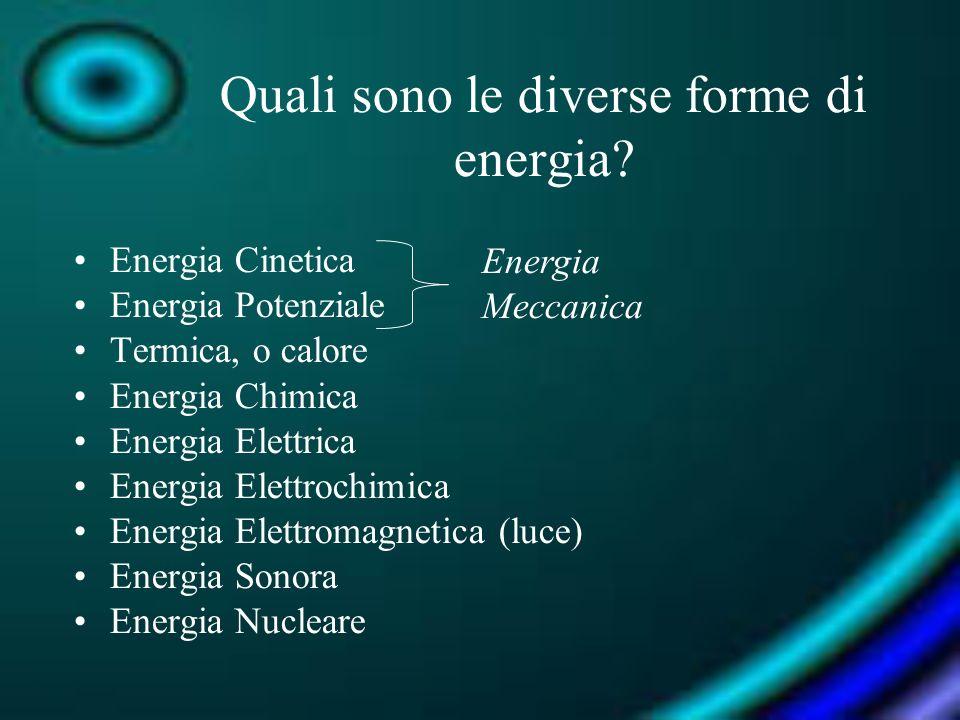 Quali sono le diverse forme di energia? Energia Cinetica Energia Potenziale Termica, o calore Energia Chimica Energia Elettrica Energia Elettrochimica
