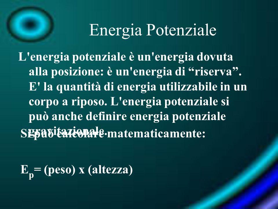 Energia Potenziale L'energia potenziale è un'energia dovuta alla posizione: è un'energia di riserva. E' la quantità di energia utilizzabile in un corp