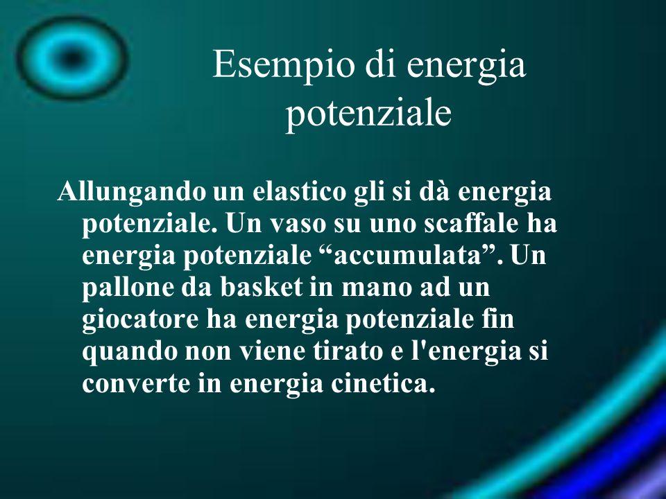Esempio di energia potenziale Allungando un elastico gli si dà energia potenziale. Un vaso su uno scaffale ha energia potenziale accumulata. Un pallon