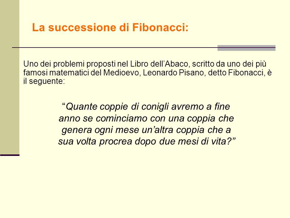 La successione di Fibonacci: Uno dei problemi proposti nel Libro dellAbaco, scritto da uno dei più famosi matematici del Medioevo, Leonardo Pisano, de