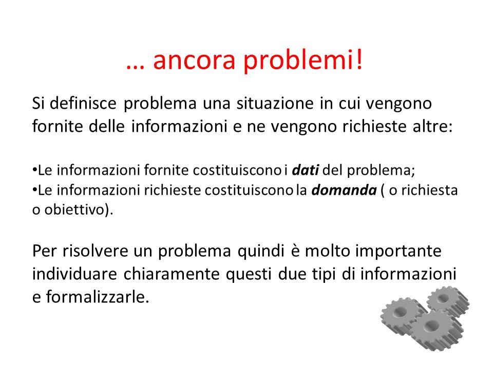… ancora problemi! Si definisce problema una situazione in cui vengono fornite delle informazioni e ne vengono richieste altre: Le informazioni fornit