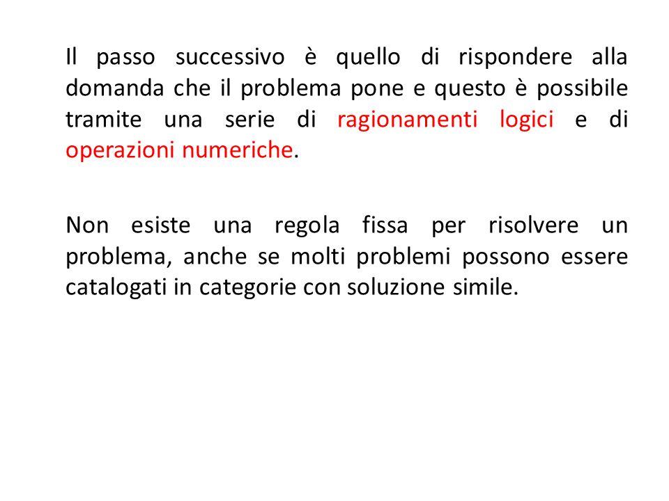 Il passo successivo è quello di rispondere alla domanda che il problema pone e questo è possibile tramite una serie di ragionamenti logici e di operaz