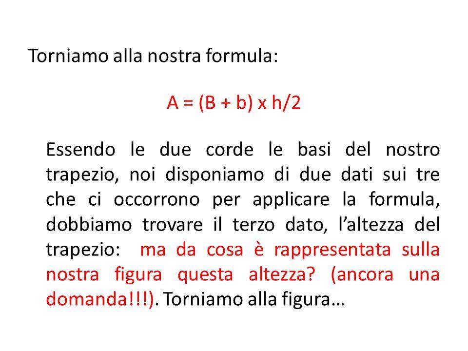 Torniamo alla nostra formula: A = (B + b) x h/2 Essendo le due corde le basi del nostro trapezio, noi disponiamo di due dati sui tre che ci occorrono