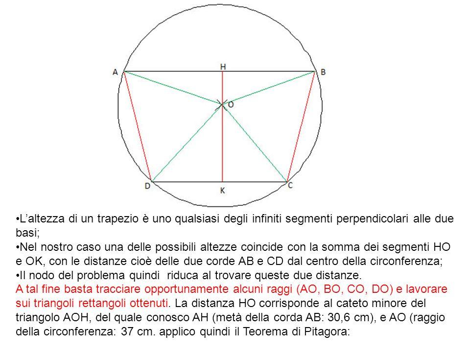Laltezza di un trapezio è uno qualsiasi degli infiniti segmenti perpendicolari alle due basi; Nel nostro caso una delle possibili altezze coincide con
