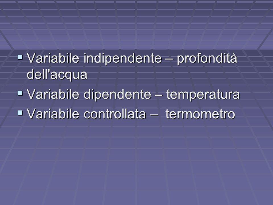 Variabile indipendente – profondità dell acqua Variabile indipendente – profondità dell acqua Variabile dipendente – temperatura Variabile dipendente – temperatura Variabile controllata – termometro Variabile controllata – termometro