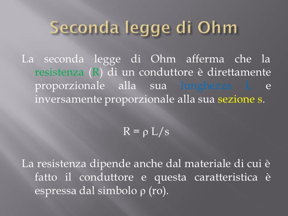 La seconda legge di Ohm afferma che la resistenza (R) di un conduttore è direttamente proporzionale alla sua lunghezza L e inversamente proporzionale alla sua sezione s.