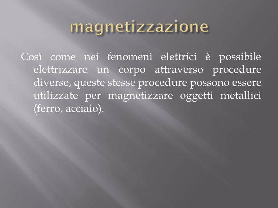 Così come nei fenomeni elettrici è possibile elettrizzare un corpo attraverso procedure diverse, queste stesse procedure possono essere utilizzate per magnetizzare oggetti metallici (ferro, acciaio).