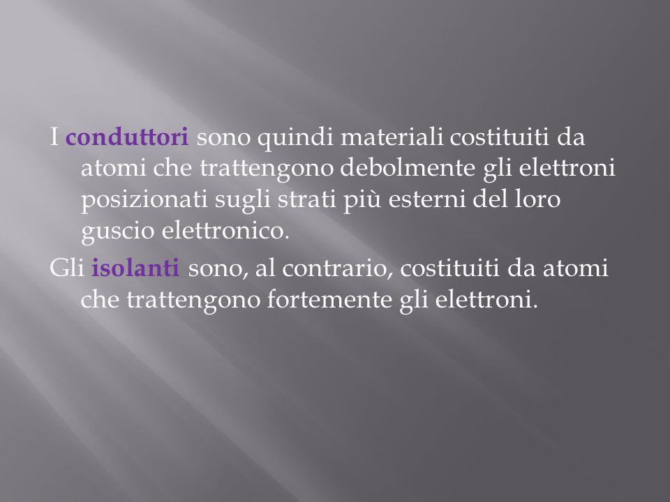 I conduttori sono quindi materiali costituiti da atomi che trattengono debolmente gli elettroni posizionati sugli strati più esterni del loro guscio elettronico.