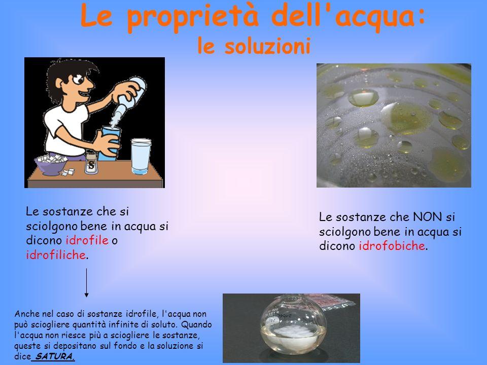 Le proprietà dell acqua: le soluzioni Le sostanze che si sciolgono bene in acqua si dicono idrofile o idrofiliche.