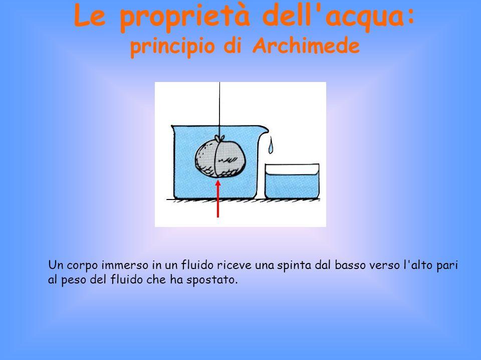 Le proprietà dell acqua: principio di Archimede Un corpo immerso in un fluido riceve una spinta dal basso verso l alto pari al peso del fluido che ha spostato.