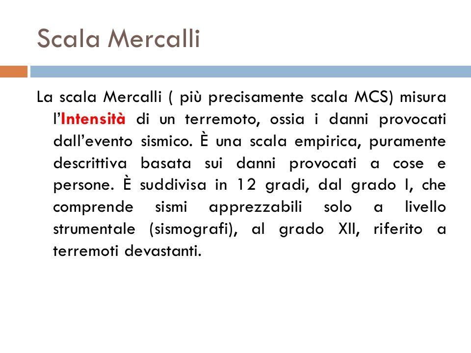 Scala Mercalli La scala Mercalli ( più precisamente scala MCS) misura lIntensità di un terremoto, ossia i danni provocati dallevento sismico. È una sc