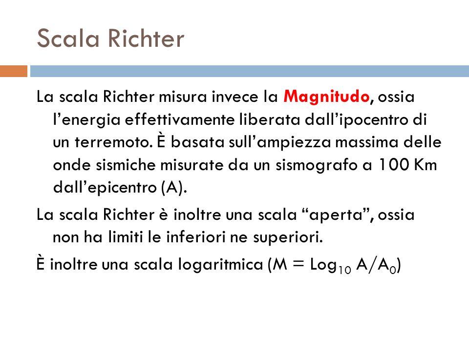 Scala Richter La scala Richter misura invece la Magnitudo, ossia lenergia effettivamente liberata dallipocentro di un terremoto. È basata sullampiezza