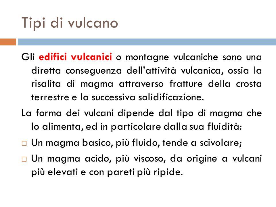 Tipi di vulcano Gli edifici vulcanici o montagne vulcaniche sono una diretta conseguenza dellattività vulcanica, ossia la risalita di magma attraverso