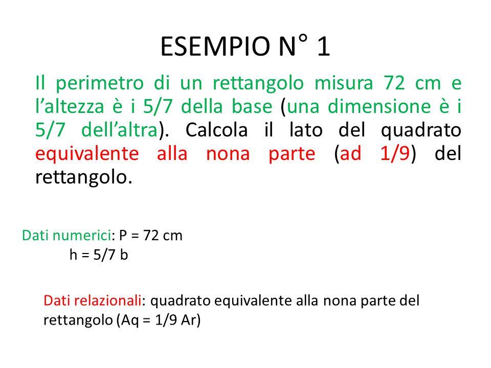 ESEMPIO N° 1 Il perimetro di un rettangolo misura 72 cm e laltezza è i 5/7 della base (una dimensione è i 5/7 dellaltra).