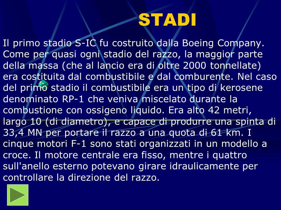 STADI Il primo stadio S-IC fu costruito dalla Boeing Company. Come per quasi ogni stadio del razzo, la maggior parte della massa (che al lancio era di
