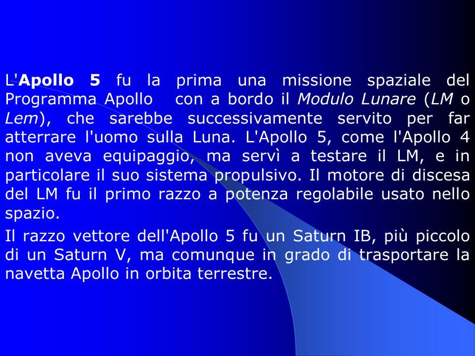 L Apollo 5 fu la prima una missione spaziale del Programma Apollo con a bordo il Modulo Lunare (LM o Lem), che sarebbe successivamente servito per far atterrare l uomo sulla Luna.