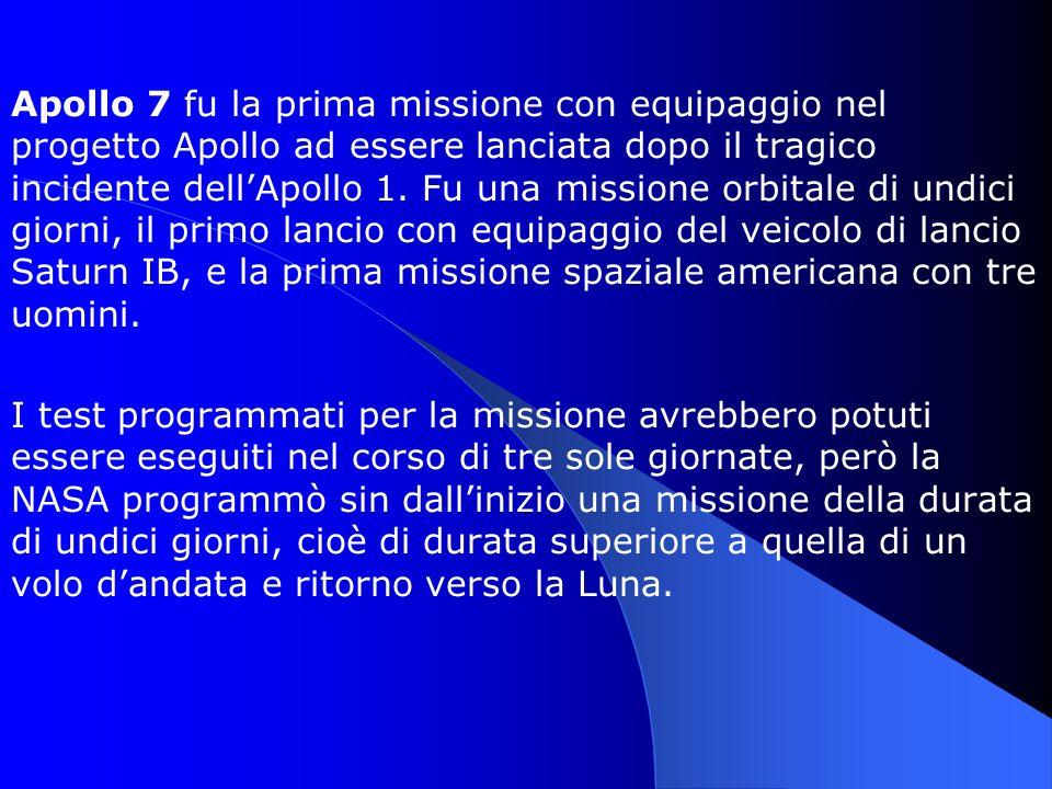 Apollo 7 fu la prima missione con equipaggio nel progetto Apollo ad essere lanciata dopo il tragico incidente dellApollo 1. Fu una missione orbitale d