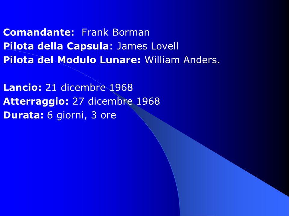 Comandante: Frank Borman Pilota della Capsula: James Lovell Pilota del Modulo Lunare: William Anders. Lancio: 21 dicembre 1968 Atterraggio: 27 dicembr