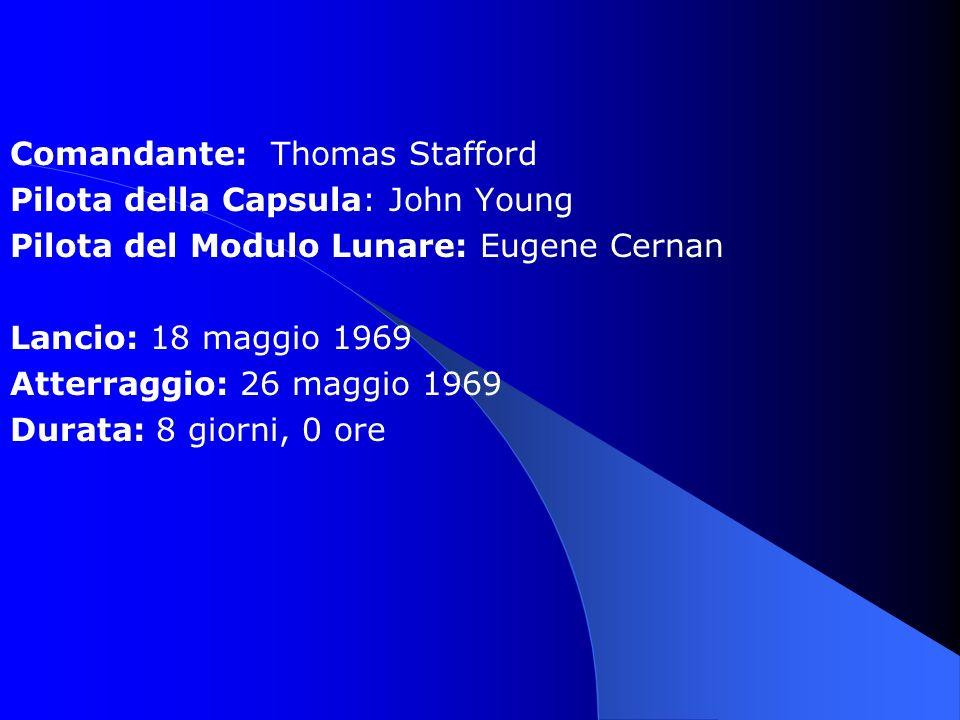 Comandante: Thomas Stafford Pilota della Capsula: John Young Pilota del Modulo Lunare: Eugene Cernan Lancio: 18 maggio 1969 Atterraggio: 26 maggio 196