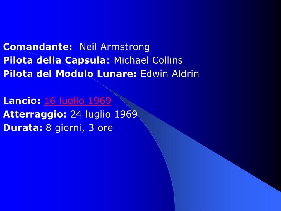 Comandante: Neil Armstrong Pilota della Capsula: Michael Collins Pilota del Modulo Lunare: Edwin Aldrin Lancio: 16 luglio 196916 luglio 1969 Atterraggio: 24 luglio 1969 Durata: 8 giorni, 3 ore