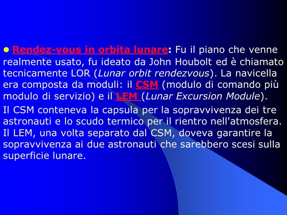 Rendez-vous in orbita lunare: Fu il piano che venne realmente usato, fu ideato da John Houbolt ed è chiamato tecnicamente LOR (Lunar orbit rendezvous)