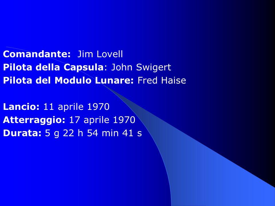 Comandante: Jim Lovell Pilota della Capsula: John Swigert Pilota del Modulo Lunare: Fred Haise Lancio: 11 aprile 1970 Atterraggio: 17 aprile 1970 Durata: 5 g 22 h 54 min 41 s