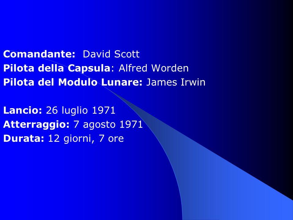 Comandante: David Scott Pilota della Capsula: Alfred Worden Pilota del Modulo Lunare: James Irwin Lancio: 26 luglio 1971 Atterraggio: 7 agosto 1971 Durata: 12 giorni, 7 ore