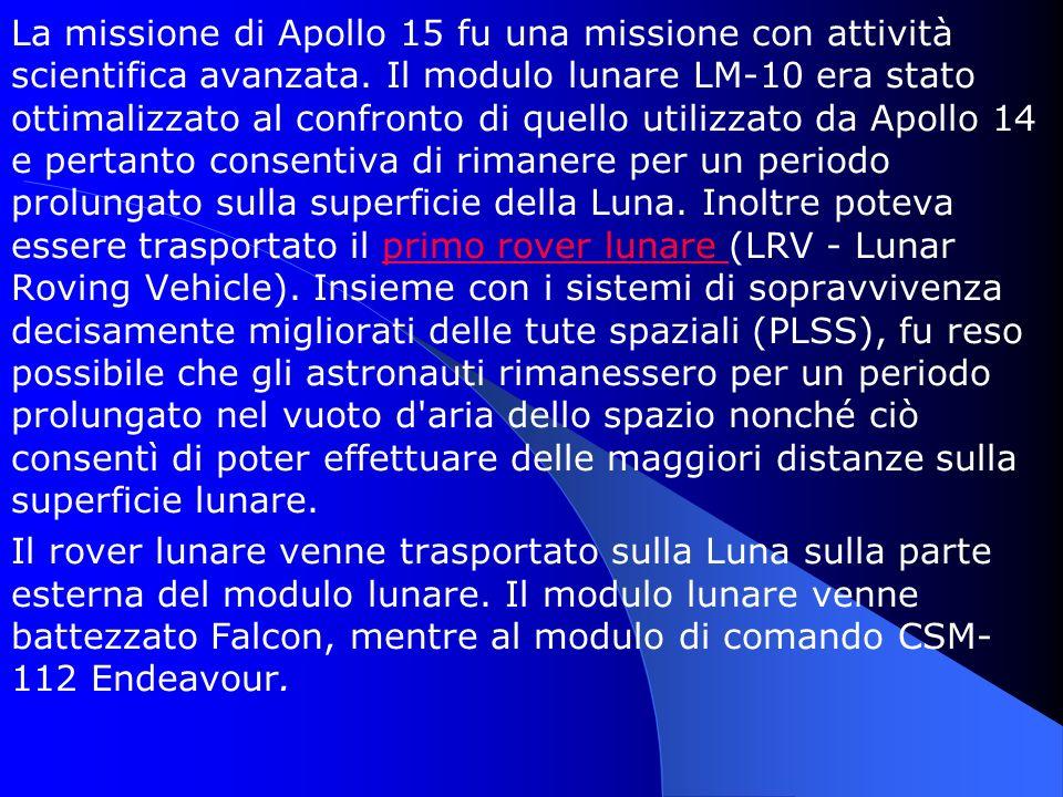 La missione di Apollo 15 fu una missione con attività scientifica avanzata. Il modulo lunare LM-10 era stato ottimalizzato al confronto di quello util