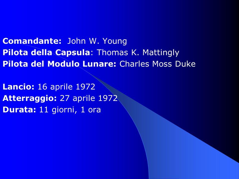 Comandante: John W. Young Pilota della Capsula: Thomas K. Mattingly Pilota del Modulo Lunare: Charles Moss Duke Lancio: 16 aprile 1972 Atterraggio: 27