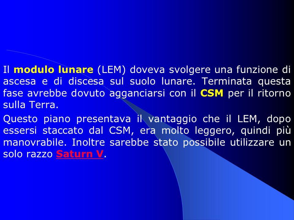 Il modulo lunare (LEM) doveva svolgere una funzione di ascesa e di discesa sul suolo lunare. Terminata questa fase avrebbe dovuto agganciarsi con il C