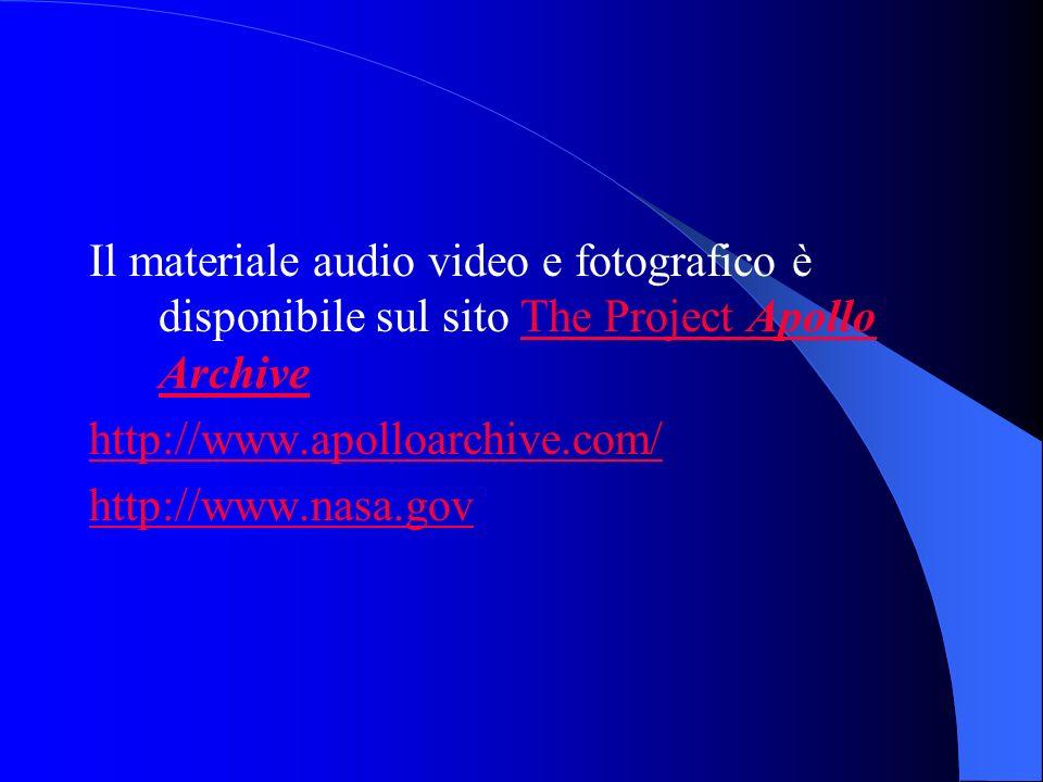 Il materiale audio video e fotografico è disponibile sul sito The Project Apollo ArchiveThe Project Apollo Archive http://www.apolloarchive.com/ http://www.nasa.gov
