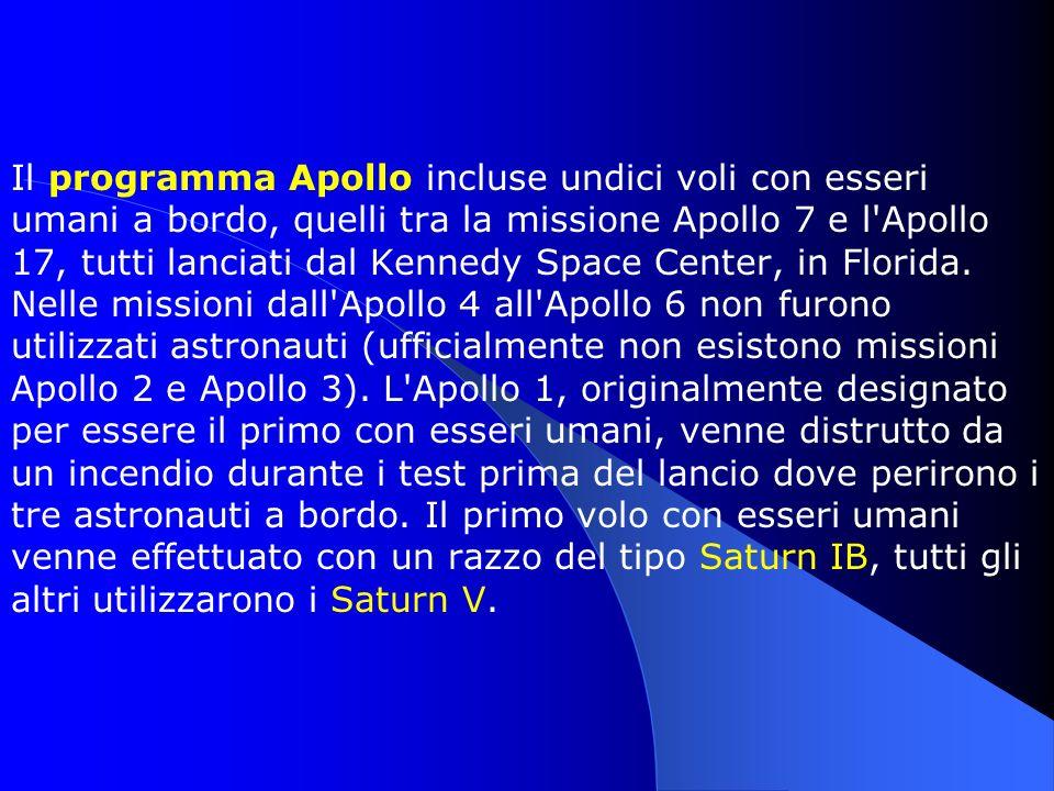 Il programma Apollo incluse undici voli con esseri umani a bordo, quelli tra la missione Apollo 7 e l'Apollo 17, tutti lanciati dal Kennedy Space Cent