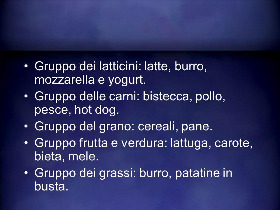 Gruppo dei latticini: latte, burro, mozzarella e yogurt. Gruppo delle carni: bistecca, pollo, pesce, hot dog. Gruppo del grano: cereali, pane. Gruppo