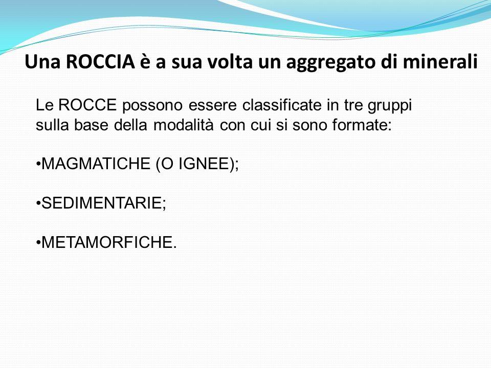 Una ROCCIA è a sua volta un aggregato di minerali Le ROCCE possono essere classificate in tre gruppi sulla base della modalità con cui si sono formate