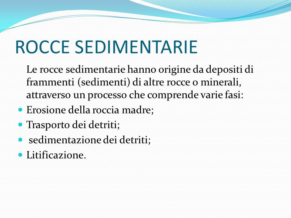 ROCCE SEDIMENTARIE Le rocce sedimentarie hanno origine da depositi di frammenti (sedimenti) di altre rocce o minerali, attraverso un processo che comp